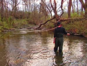 Microfishing a stream in North Carolina.